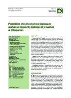 prikaz prve stranice dokumenta Possibilities of use bioelectrical impedance analysis as measuring technique in prevention of osteoporosis